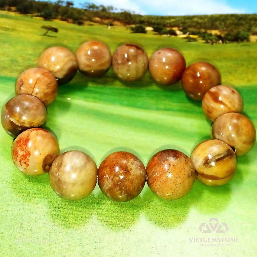 Vòng chuỗi đá gỗ hóa thạch vân nâu vàng 14mm