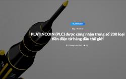 PLATINCOIN - PLC ĐƯỢC CÔNG NHẬN LÀ MỘT TRONG SỐ 200 LOẠI TIỀN ĐIỆN TỬ HÀNG ĐẦU THẾ GIỚI