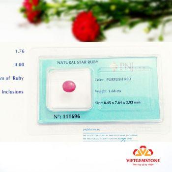 RUBY LỤC YÊN VIỆT NAM TỰ NHIÊN 2.68cts, KIỂU MÀI CABOCHON